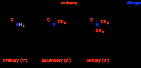 Amines primary secondary tertiary