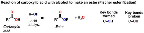 Conversion of carboxylic acids to esters using acid and alcohols (Fischer Esterification ...